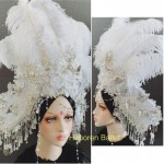 Photo studio exaggerated national tide headdress hat feather hair accessories catwalk competition or headwear for show costume