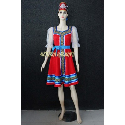 High Quality Customized Women Russian National Costumes,Russian Dancing Dress With Headwear For Adult Or Kids Retail Wholesale