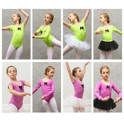 Children Short Sleeve Ballet Gymnastics Dance Leotard Set With Detachable Skirt Ballerina Bodysuit Training Wear