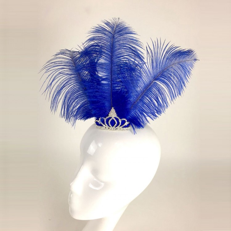 Hand Made Blue Feather Nutcracker Ballet Headwear Headdress/ Custom Made Blue Bird Hair Accessory for ballet