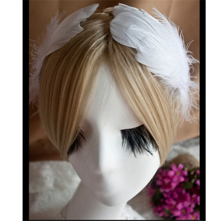 Hand Made Ballet White Feather Headwear,Ballet Decorative Bride Wedding Stage Performance Free Shipping Retail Wholesale HDE023