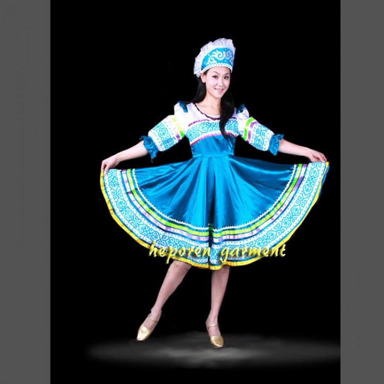 High Quality Custom Made Russian Folk Dance Costume Dress With Headwear Head For Adult Kids,Women Russia Performance Wear