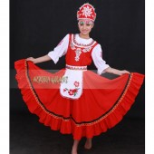 High Quality Customized Women Russian National Costumes,Russian Red Dancing Dress With Headwear For Adult Or Child Drop Shipping