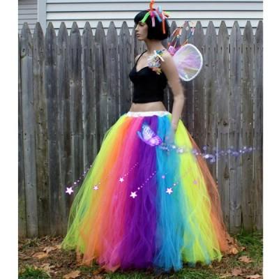 Custom Made Female Rainbow Skirt Stage Skirts,Adult Children Long Colorful Tutu Skirt Dancewear Retail Wholesale Free Shipping