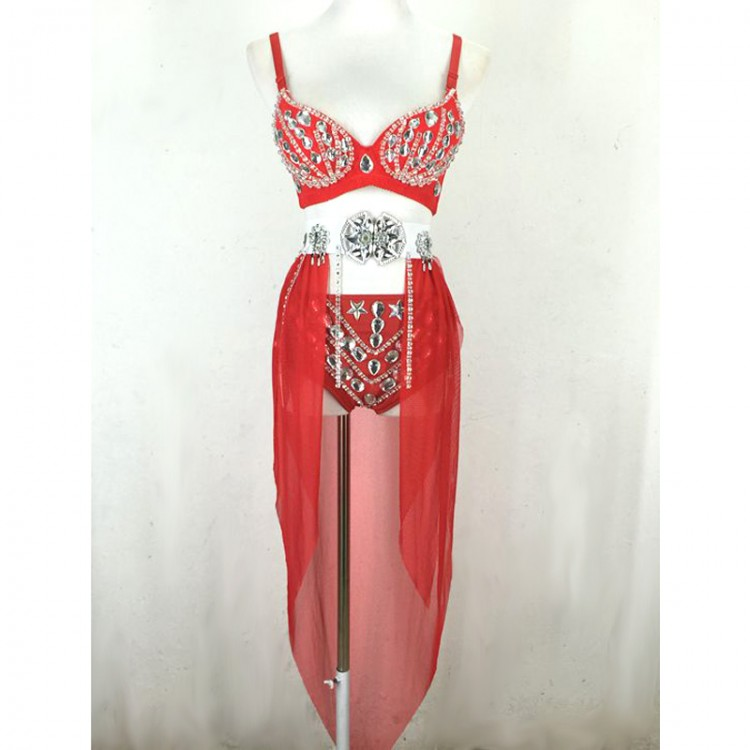 Ladies Glitter Diamond Crystal Shining Bra Top and Shorts With Detachable Chiffon Dress Stage Dancing or Sing Costumes