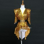 Custom Made Women Sexy Shining Top For Stage Dance,Beyonce Style Bling Bling Coat Jacket Glinted Costume