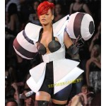 Sexy Party Exaggerating Big Shoulder Pads Dress In Rihanna Style,Huge Shoulder Coat Skirt For Fashion Show Performance Singer