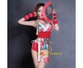 Women Geisha Bodysuit Sexy Club Japan Fish Pattern Jumpsuits Bodycon Costumes Okuni Clothes Kimono Dress Sexy Japanese Dress